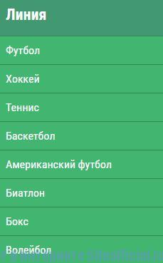 Вкладки на официальном сайте букмекерской конторы Лига ставок