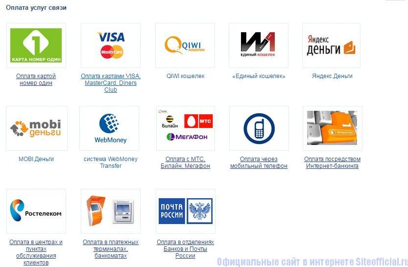 Платежные системы для оплаты услуг в личном кабинете Ростелеком