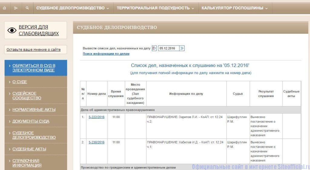 Судебное делопроизводство на официальном сайте суда Октябрьского района г. Октябрьска