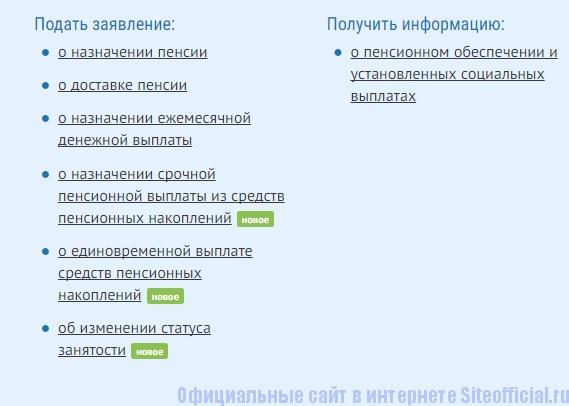 Услуги личного кабинета Пенсионного фонда России