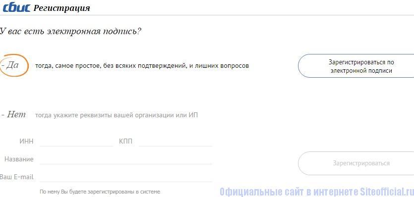 Процесс регистрации личного кабинета СБИС для юрлица