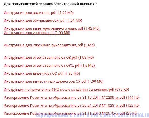 """Инструкции на Портале """"Петербургское образование"""""""