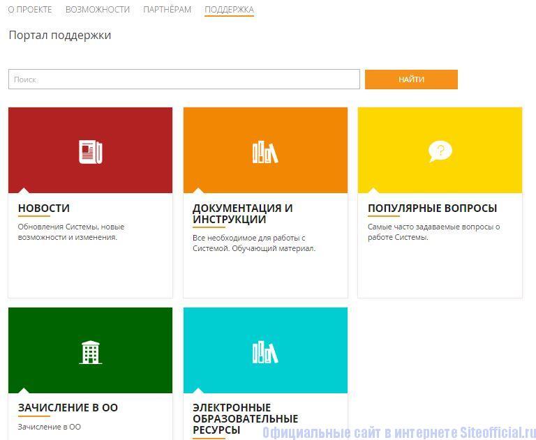 Поддержка на school mosreg ru