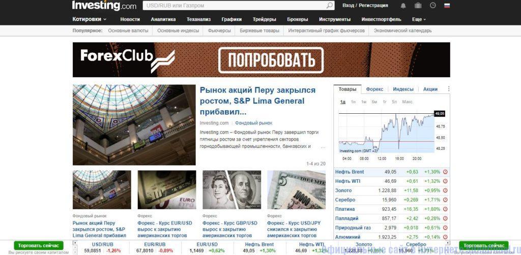 Главная страница Инвестинг.ком