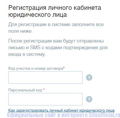 Анкета для регистрации юридического лица на сайте компании Челябэнергосбыт
