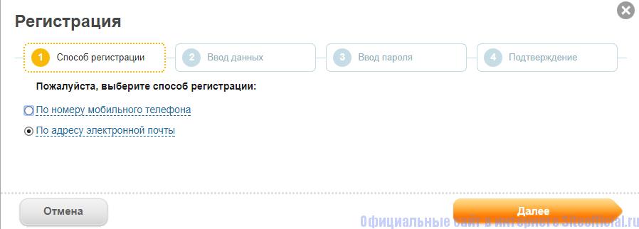 Выбор способа регистрации на сайте Мосэнергосбыт