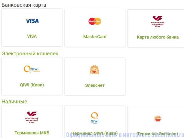 Способы погашения кредита на сайте