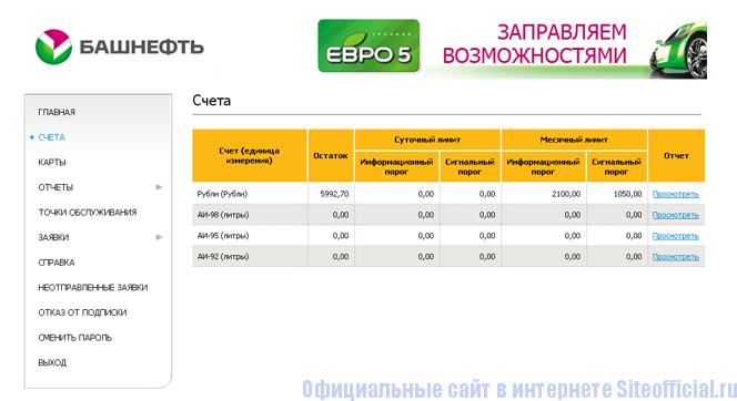 Проверка счета на сайте компании Башнефть