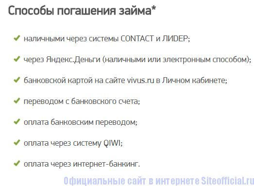 Способы оплаты за кредит на сайте Вивус