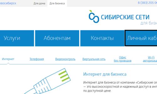 Личный кабинет для компаний от Сибирские Сети
