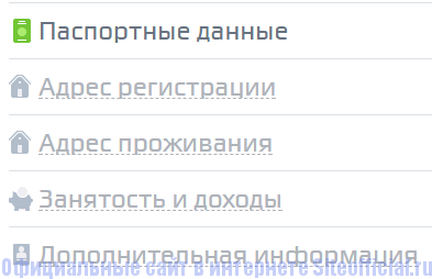 Анкета на сайте Кредит24