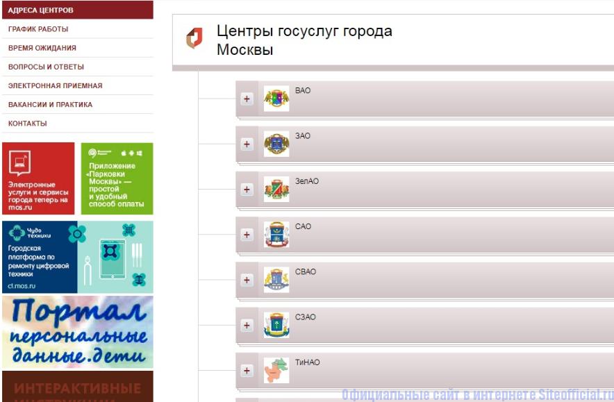 Адреса офисов и филиалов МФЦ  Москвы