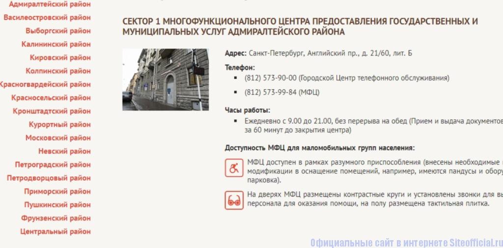 Адреса филиалов МФЦ СПБ