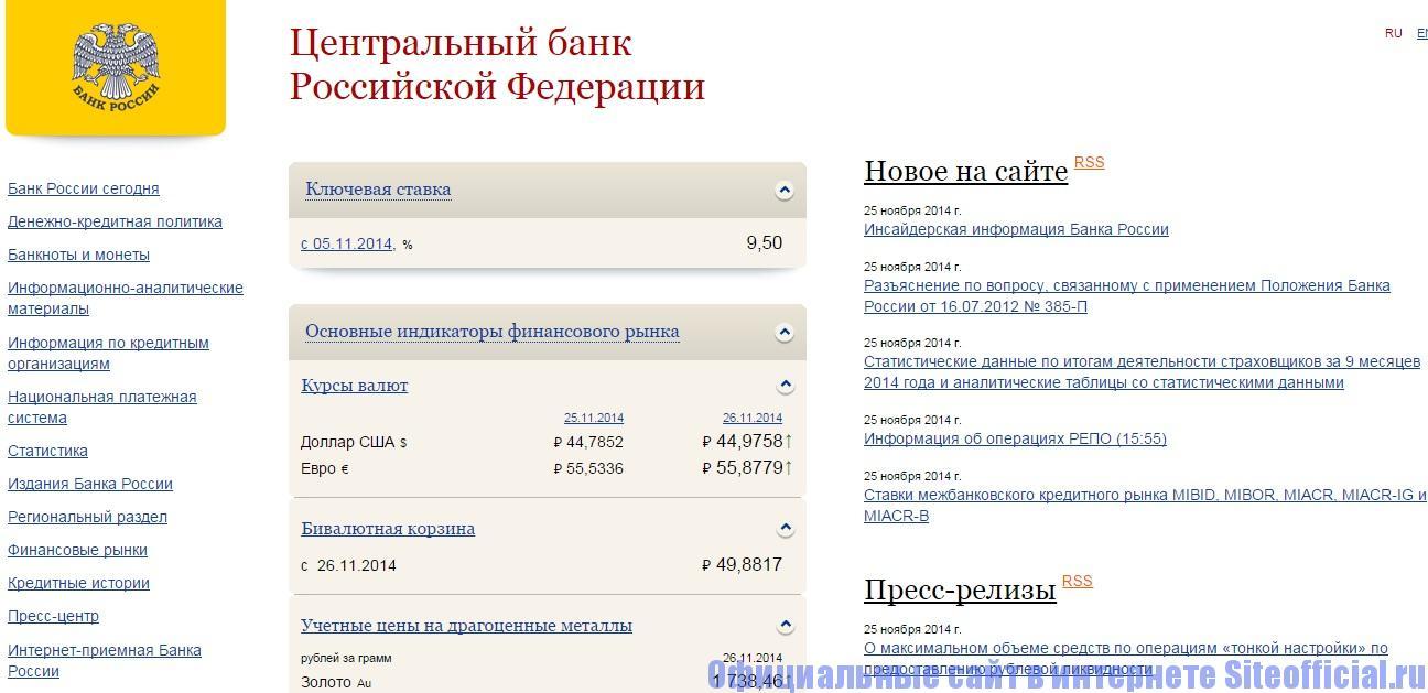 Официальный сайт ЦБ РФ - Главная страница