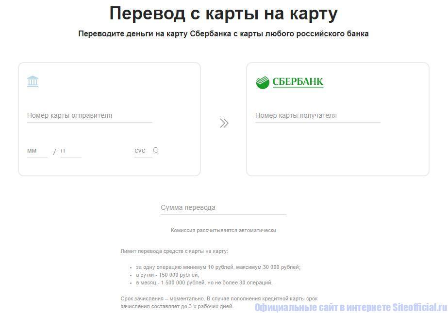 Перевод денег на карту Сбербанка с карты любого российского банка