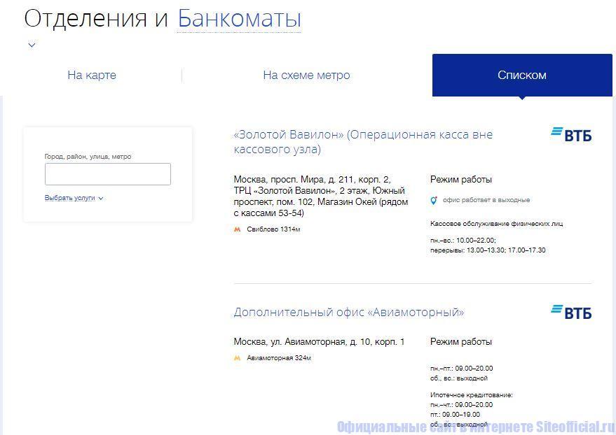 Отделения и банкоматы банка ВТБ