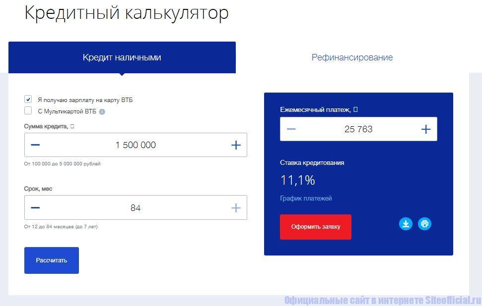 ВТБ 24 официальный сайт - Кредитный калькулятор