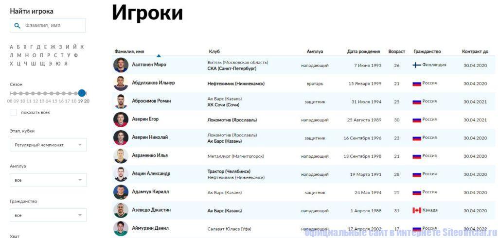 """Раздел """"Игроки"""" на официальном сайте КХЛ"""