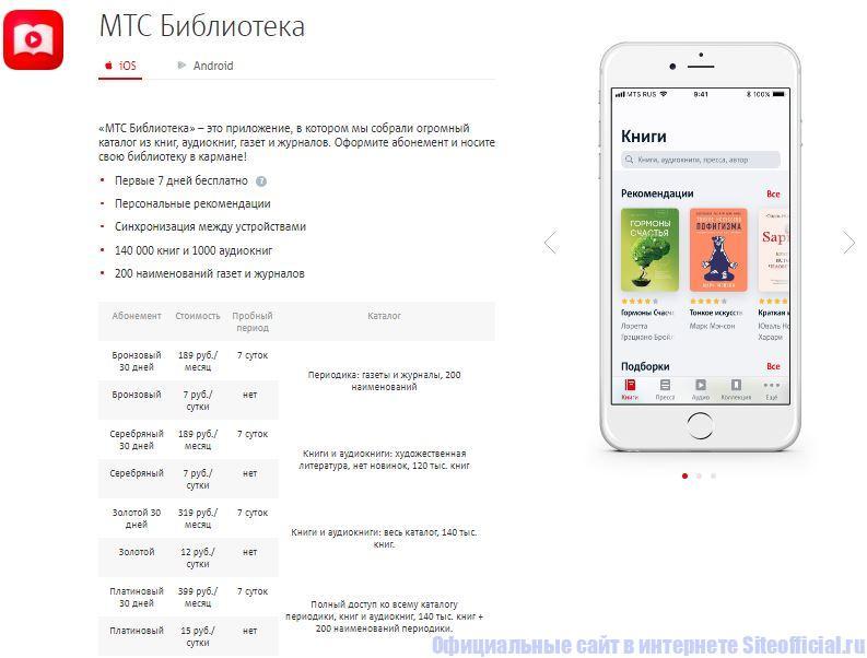 """Приложение """"МТС Библиотека"""" от Мобильные ТелеСистемы"""