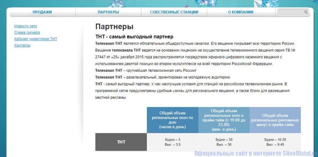 """Вкладка """"Партнёры"""" на официальном сайте ТНТ"""