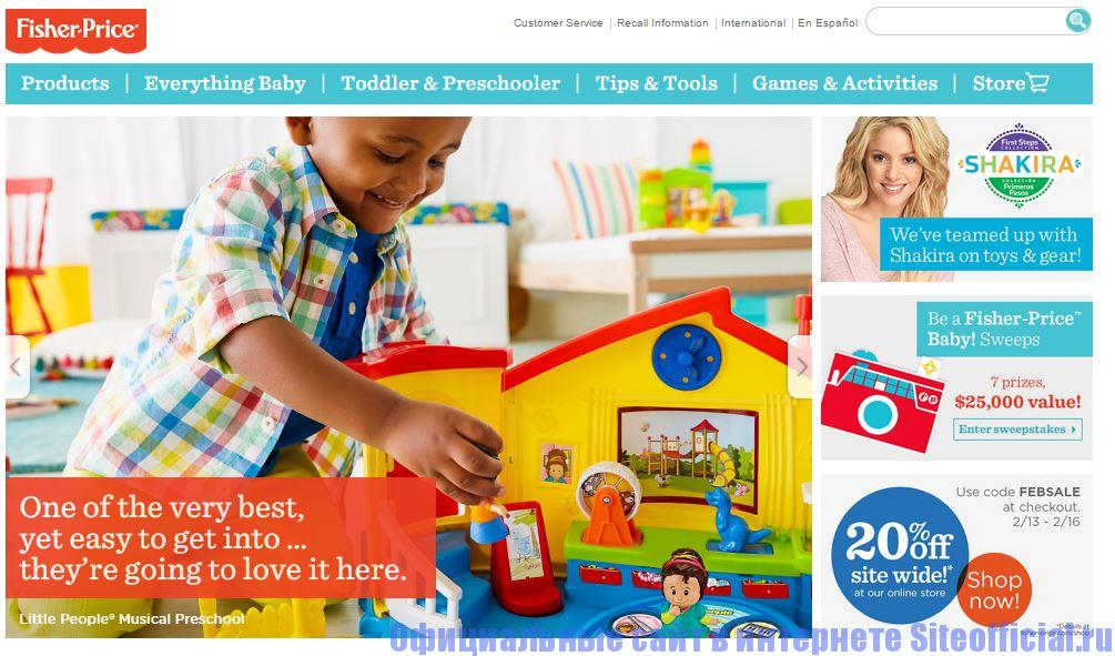 Официальный сайт Fisher Price - Главная страница