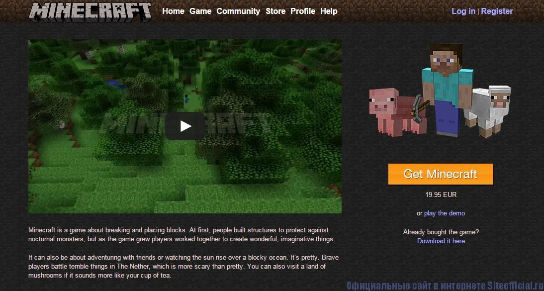 Официальный сайт Майнкрафт - Главная страница