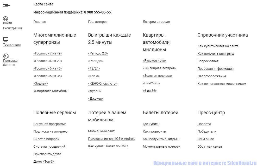 Карта официального сайта Столото