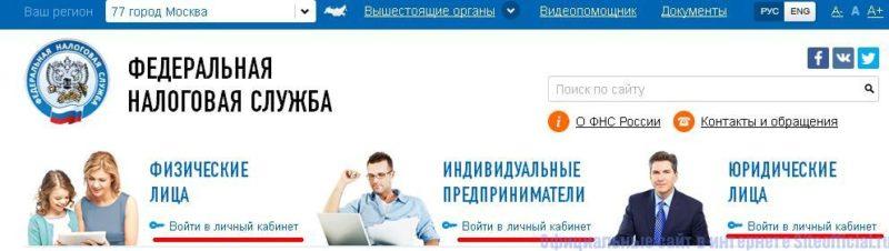 Вид официального сайта Налоговой