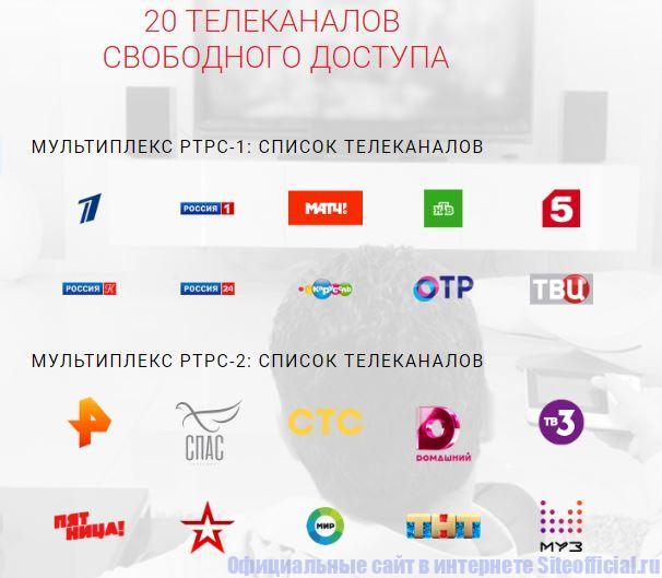 20 телеканалов свободного доступа: мультиплекс РТРС-1 и мультиплекс РТРС-2