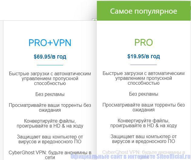 Сравнение версий Pro и Pro+VPN на tfile официальном сайте