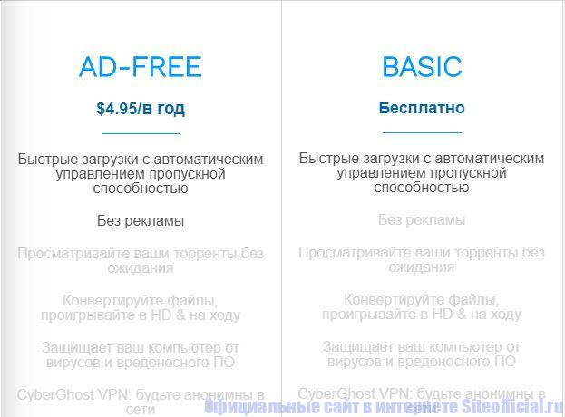 Сравнение версий AD-Free и Basic на tfile официальном сайте
