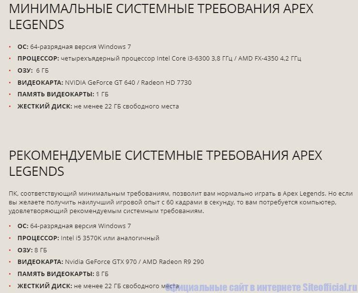 Apex Legends официальный сайт- Системные требования для ПК