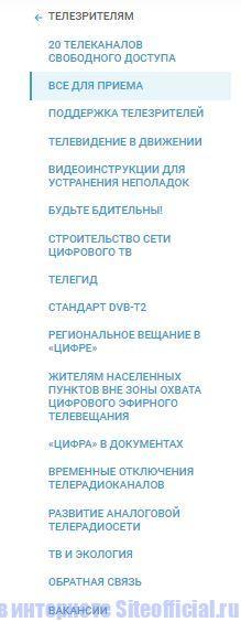 Основное меню официального сайта Смотрицифру рф