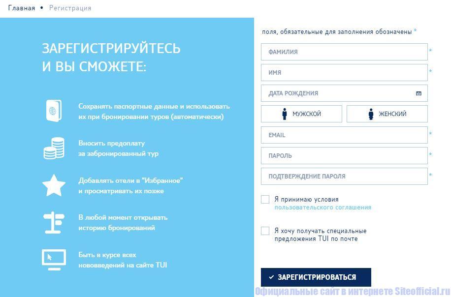 Регистрация на официальном сайте ТУИ