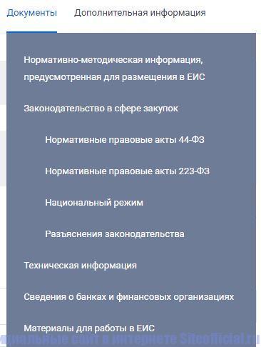 """Вкладка """"Документы"""" на официальном сайте госзакупок"""