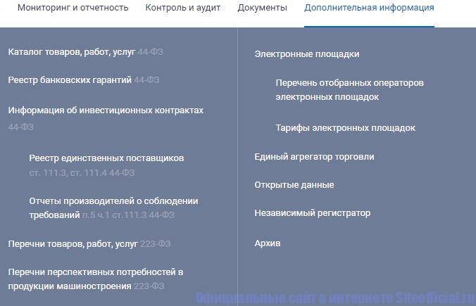 """Вкладка """"Дополнительная информация"""" на официальном сайте госзакупок"""