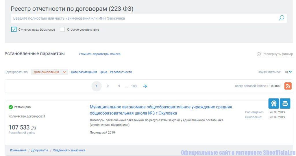 Реестр отчётности по договорам 223-ФЗ