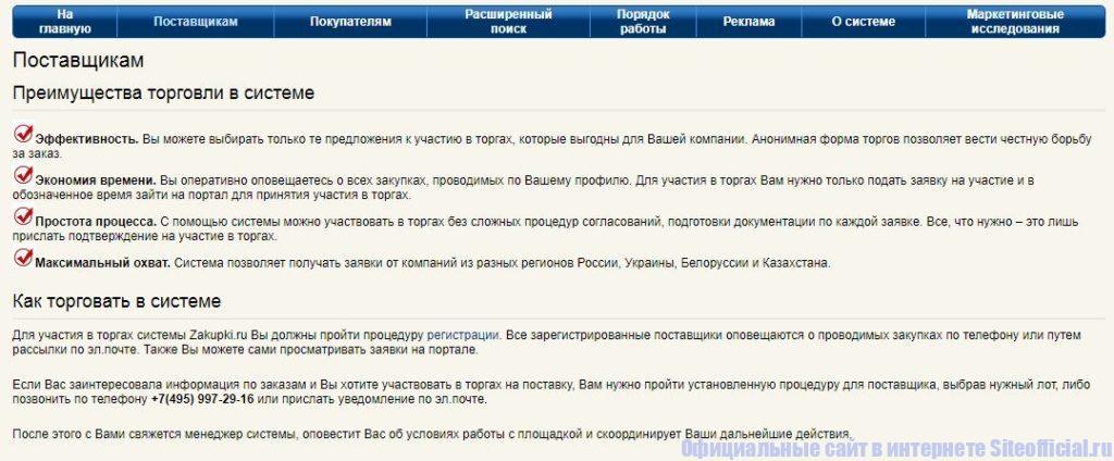 """Вкладка """"Поставщикам"""" на официальном сайте Закупки ру"""