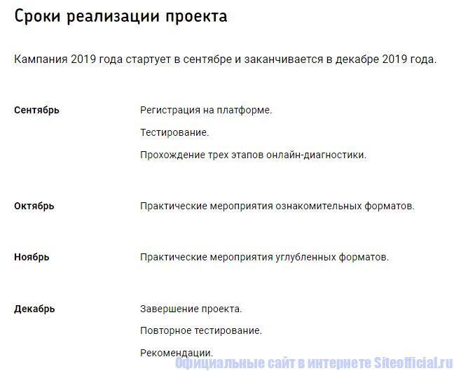"Сроки реализации проекта ""Билет в будущее"""