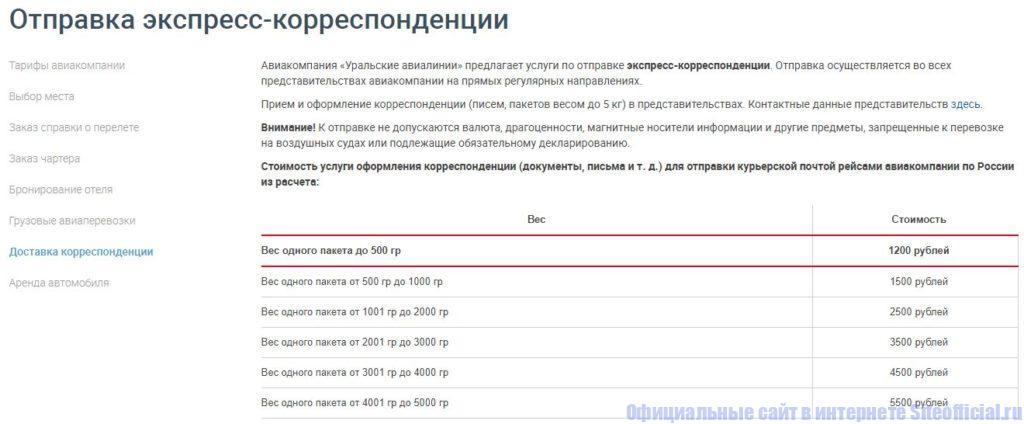 Уральские авиалинии - Отправка экспресс корреспонденции