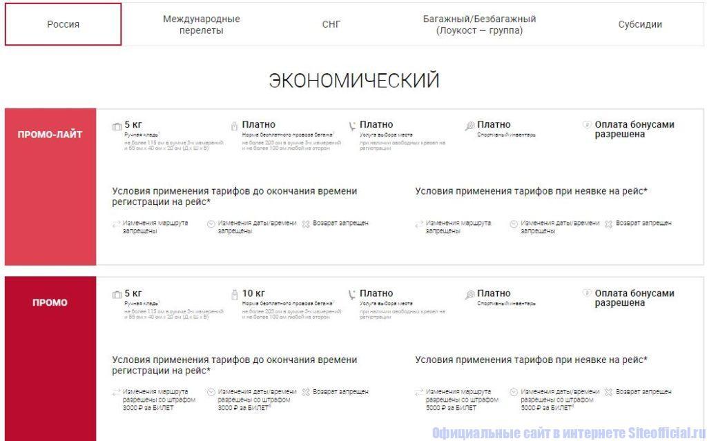 Авиакомпания Уральские авиалинии - Тарифы