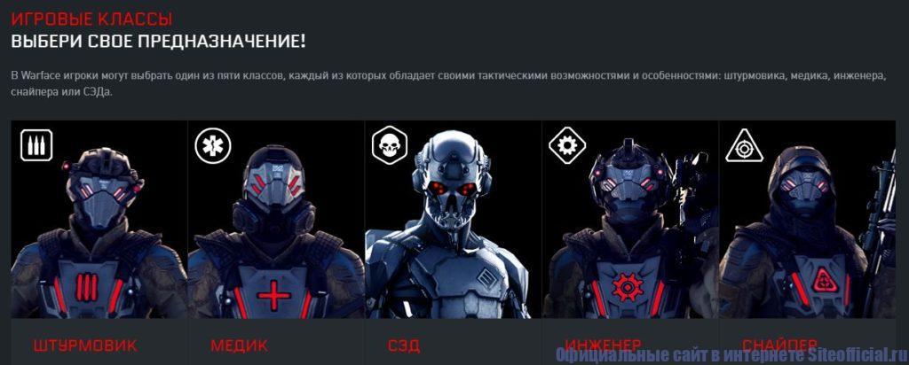 Игровые классы онлайн-шутера Варфейс